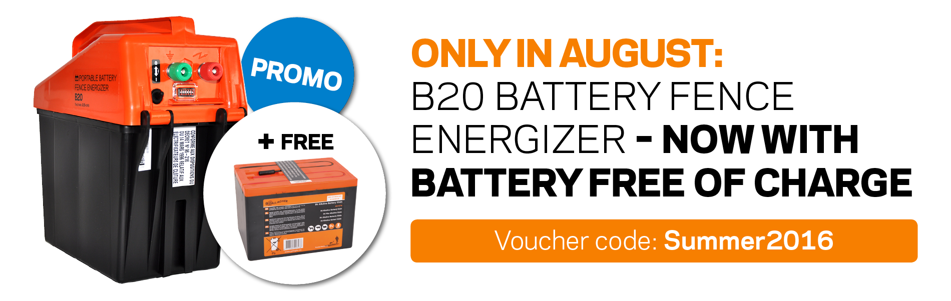 B20 battery fence energizer – now with battery free of charge