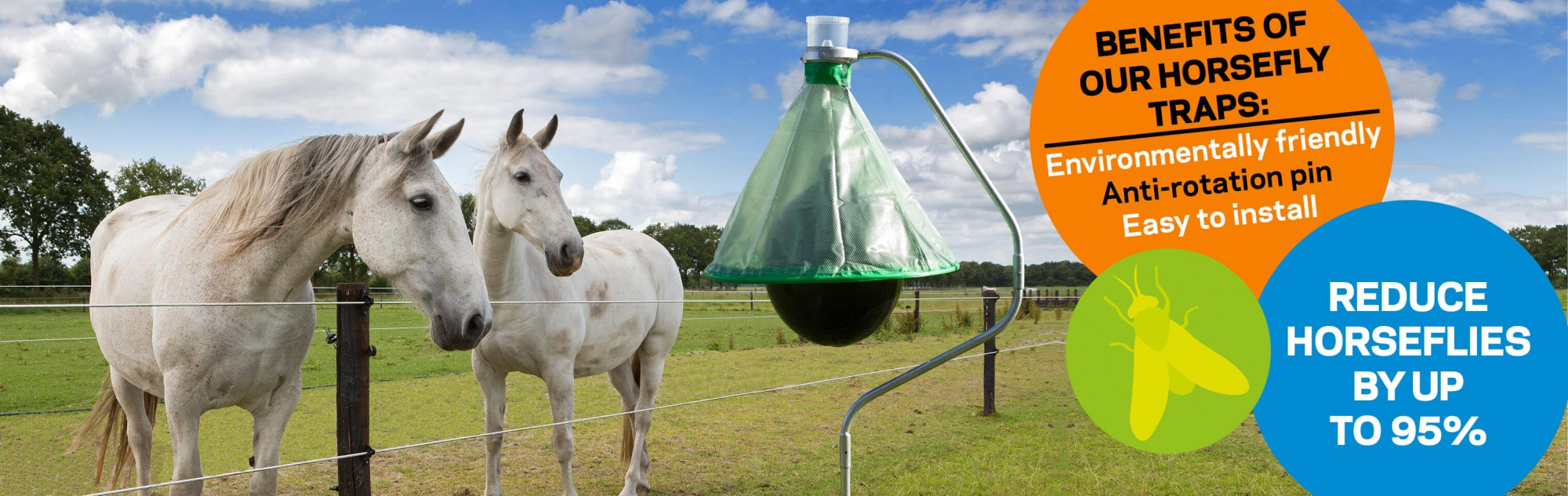 Use a horsefly trap to get rid of horseflies in your horse and cattle fields