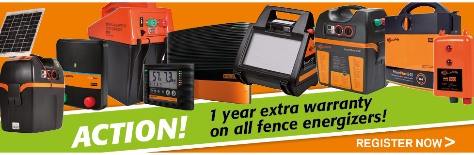 1 Year extra warranty on all Gallagher fence energizers!